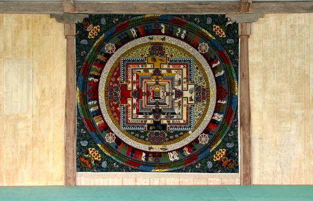 Tapis Mandala du Kalachakra avec l'autorisation de SS le Dalaï-Lama