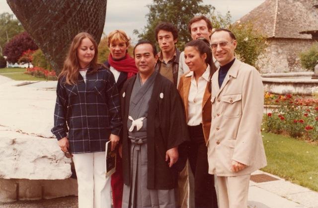 De droite à gauche au 1er rang: Yves Cauhépé, Eveline, Tohei Koichi, (X), au 2e rang: Jean-Daniel Cauhépé, JM, Den.Thonon-les-Bains 1978